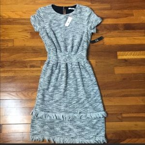 NWT New York & Co Grey Tweed Tiered Sweater Dress
